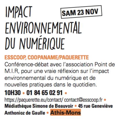 L'impact environnemental du numérique – 23 novembre à la médiathèque d'Athis-Mons